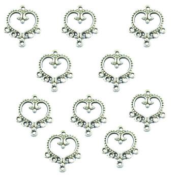 30 Charm Pendants Connectors Heart Antique Silver 19x21mm Rb00334
