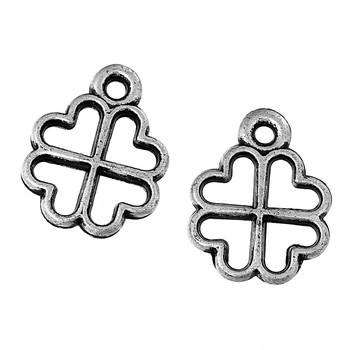 900 12mm Clover Charms Acrylic Beads Approx 1/2 Inch Antiqued Silver