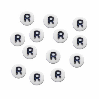 """100 White Acrylic Alphabet Letter """"R"""" Coin Spacer Beads 7x4mm Round Rb-B08354-R"""