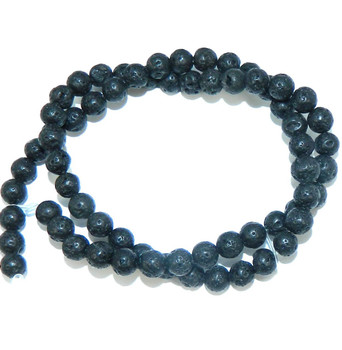 "6mm Volcanic Lava Rock Natural  Round Beads 40cm 15""  Stone"