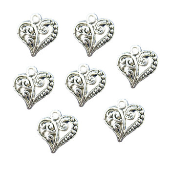 48 Charm Pendants Heart Antique Silver 14x13.5mm Rb00125