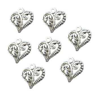 48 Charm Pendants Heart Antique Silver 14x13.5mm Rb00125