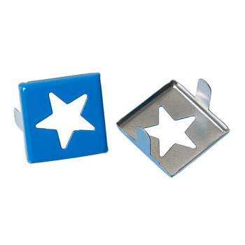 Spike Rivets Studs Square Silver Tone Star Pattern Painted Blue 15mm x 15mm, 250 Pcs Rb44007-G