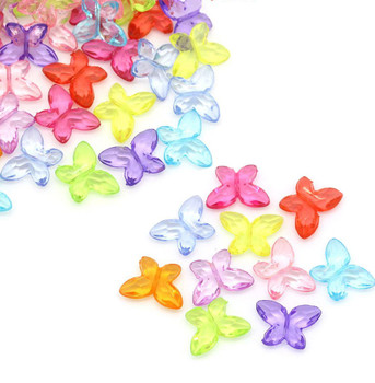 180 Mixed Butterfly Acrylic Beads 11x15mm Approx 1/2 X 5/8 Inch