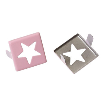 Spike Rivets Studs Square Silver Tone Star Pattern Painted Pink 15mm x 15mm, 250 Pcs Rb44006
