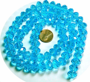 12x8mm Aqua Blue Luster Crystal Glass Faceted Rondelle Beads. 72 Piece B1-Uc5A26