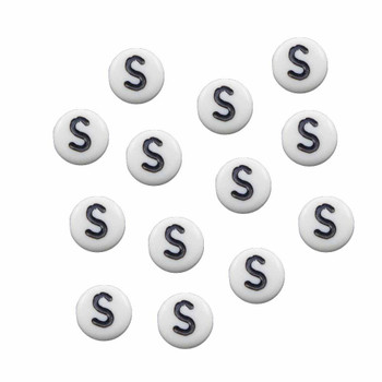 """100 White Acrylic Alphabet Letter """"S"""" Coin Spacer Beads 7x4mm Round Rb-B08354-S"""