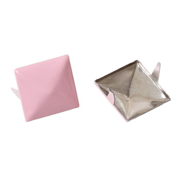 250 Spike Rivets Studs Square Silver Tone Painted Pink 12mm 1/2 Inch Rb44011