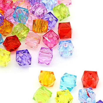 280 Acrylic Spacer Beads Cube Random Mix 8mm Hole 1.5mm Rb24400