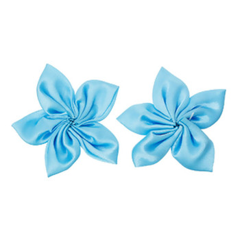35 Satin Flowers Appliques 2 To 2-3/4 Inch Blue Rb37190-Blue