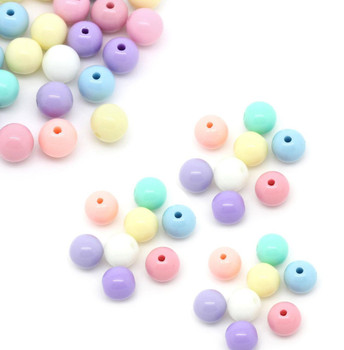 450 Random Acrylic Spacer Beads Round Pastel 6mm Hole 1.5mm Rb28558