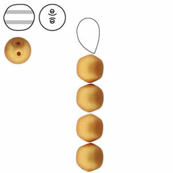 Gold Metalic Matte 20 Czech Glass Dobble 2 Hole Druk 8mm Round