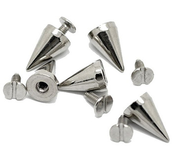 19 Sets Steal Tone Cone Screw On Spike Rivet Studs 15x10mm Approx 5/8 Inch Spike Punk Gothic Or Leather Work Rb19368
