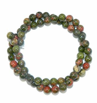 """6mm Unakite Natural  Round Beads 40cm 15""""  Stone"""