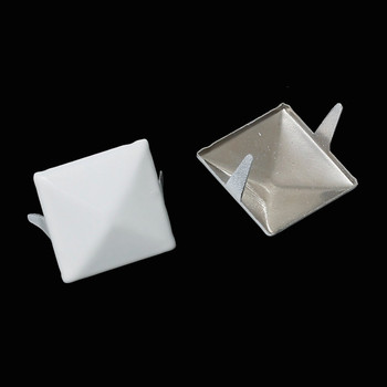 250 Spike Rivets Studs Square Silver Tone Painted White 12mm 1/2 Inch Rb44015