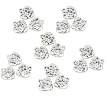 180 Charm Pendants Heart Antique Silver Made With Love 12x13.5mm Rk03706