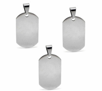 3 304 Stainless Steel Dye Stamping Engraving Blanks Tags Round Bail 1 5/8 Inch Rb18892