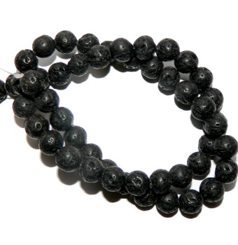 "8mm Volcanic Lava Rock Natural Round Beads 40Cm 15"" Stone B1-8D50"
