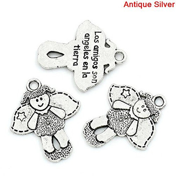 28 Antique Silver Pendant Angel Girl Antique Silver Message Carved 23x19mm Rb26824