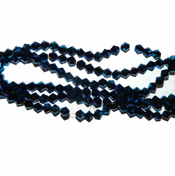 Metallic Blue Faceted 6mm Bicone Beads 48 Piece Luster Glass Beads B1-Uc22B21