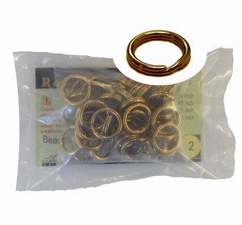 48 Split Ring Lanyard Dog Tag Polished Brass 15mm Usa 92410-48