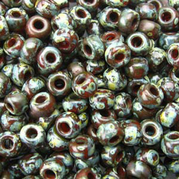 Picasso Red Brown Trans 22 Grams Miyuki 8/0 Seed Bead 22 Gram 8-94503-Tb