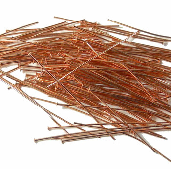 144 Head Pins 029Dia x 2 Inch Copper Plated St Ard 21 Gauge Wire Hdp0292Cp