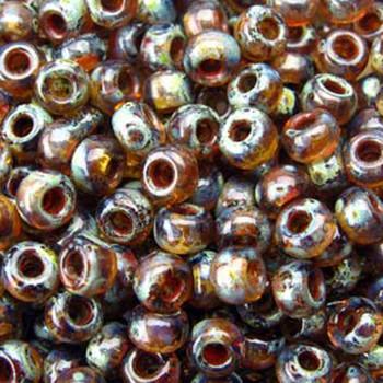 Picasso Smokey Topaz Transparent 22 Grams Miyuki 8/0 Seed Bead 22 Gram 8-94505-Tb