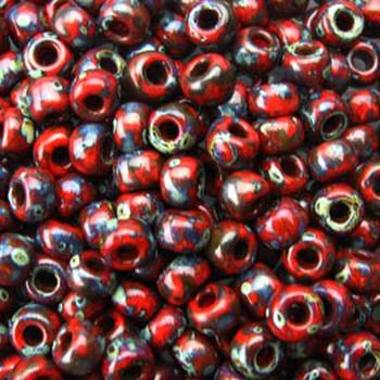 Picasso Red Garnet Matte 22 Grams Miyuki 8/0 Seed Bead 22 Gram 8-94513-Tb