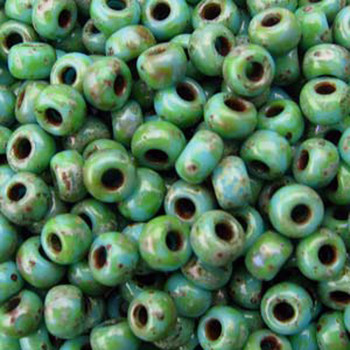 Picasso Seafoam Green 22 Grams Miyuki 8/0 Seed Bead 22 Gram 8-94514-Tb