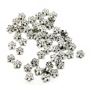50 Metal Flower Beads Antiqued Silver Plated Zinc 7mm With 1.1mm Hole Rb00080