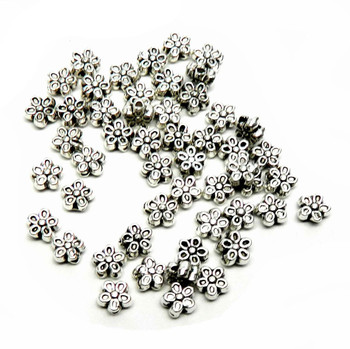 50 Metal Flower Beads Antiqued Silver Plated Zinc 7mm with 1.1mm Hole