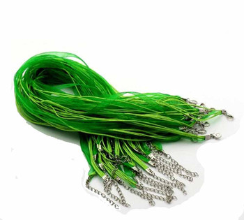 15 Organza Ribbon With Waxen Cord Necklaces Lobster Clasp 17 Inch (Green) A-8-B22607
