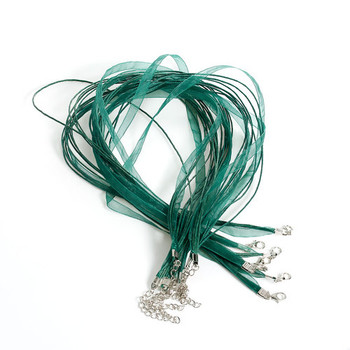 15 Organza Ribbon With Waxen Cord Necklaces Lobster Clasp 17 Inch (Olive Green) A-8-B22611