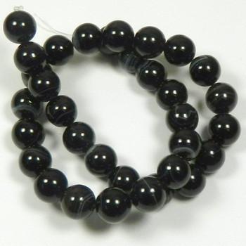"12mm Black Striped Agate Round Beads 40Cm 15"" Stone B1-12F26"