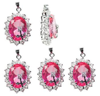 5 Flower Pendants 22x30mm Pink Clear Rhinestones B1-J12F