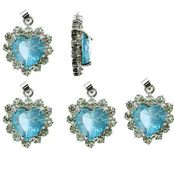 5 Heart Pendants 20x20mm Turquoise Blue Clear Rhinestones B1-J1B