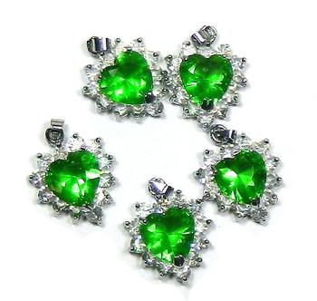 5 Heart Pendants 20x20mm Green Clear Rhinestones B1-J1G