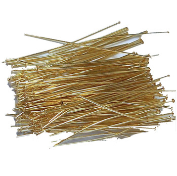 144 Head Pins 029Dia x 2 25 Inch Gold Plated St Ard 21 Gauge Wire Hdp029225Gp
