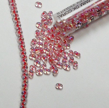 Coral Crystal Ab Rainbow Miyuki Berry Bead 2.5x4.5mm Seed Bead Glass 22Gr Bb-276-Tb