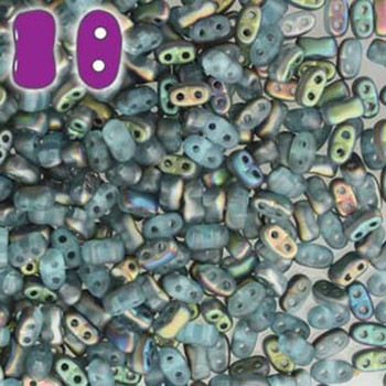 Aqua Vitrail Matte Bi-Bo Czech Glass 2 Hole Seed Beads 5.5x2.8mm 22Gr Bo52-60020-28171-Tb