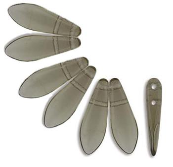 Black Diamond 50 Czech Glass Dagger Drop Beads 5x16mm 2 Hole Dgr2-516-40010