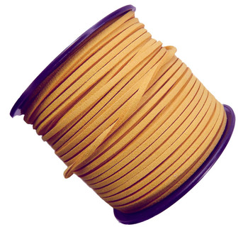 Wheat Gold Micro Fiber Faux Suede 3mm 90 Yard Spool Flat Lace Beading Craft Cord Rb-01153209-20-Spool