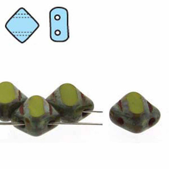 Green Opaque Picasso Table Cut 6mm Diamond Glass Czech Two Hole 40 Tile Beads Sq2C06-53400-86800