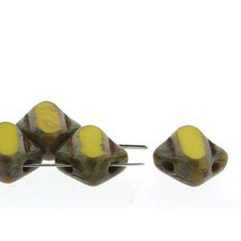 Opaque Yellow Picasso Table Cut 6mm Diamond Glass Czech Two Hole 40Pc Tile Bead Sq2C06-83110-86800