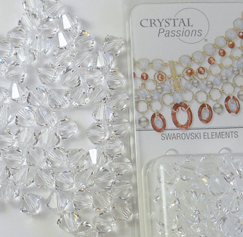 4mm Clear Swarovski Bicone Beads xillian 144 Piece By Crystal Passions Distributor Of Swarovski Elements Crystals Made In Austria xillion Cut 5328 H20-1100Cy