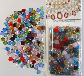 4mm Mixed Swarovski Bicone Beads xillian 144 Piece By Crystal Passions? Distributor Of Swarovski Elements Crystals Made In Austria xilion Cut 5328 H20-1108Cy