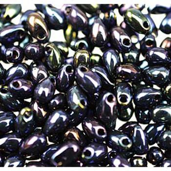 Metallic Blue Iris 3x5.5mm Long Drop Miyuki Glass Seed Beads 25 Gram Ldp-452-Tb