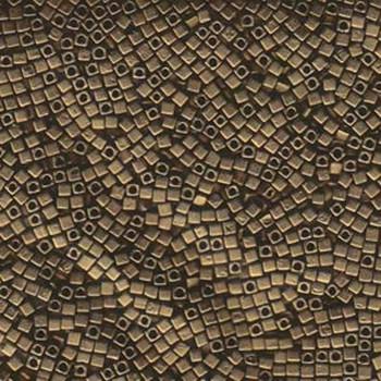 Metallic Dark Bronze Matte 1.8mm Square Cube Miyuki Glass Beads 8 Gram Sb18-2006-Tb