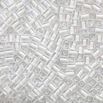 20 Grams Clear White Lined Miyuki 4mm Square Cube Glass Seed Beads Sb4-1104-Tb